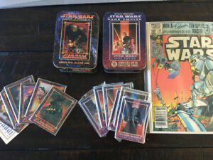 Star Wars - 2 tins of cards and 1 comic