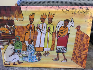 AFRICAN BATIK ART OF NATIVITY