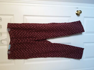 Old Navy women's burgundy printed cotton pants Size Large NWT
