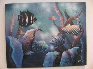 Large Oil Painting on canvas of Fish by 'Esther'
