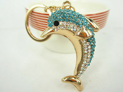 Dolphin Keyring Creative Swarovski Crystal Charm Pendant Key Bag Chain Gift