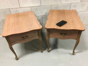 Pair of wood coffee end tables.