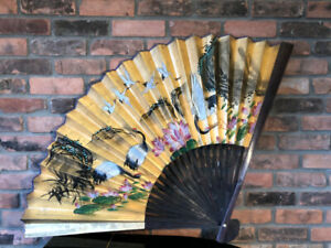 Very old large beautiful fan hand painted gold with cranes