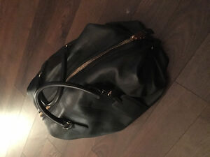 BURBERRY MENS CHECK EMBOSSED LEATHER HOLDALL