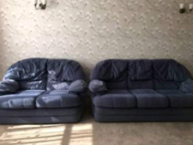 2 & 3 seater blue patterned fabric sofas
