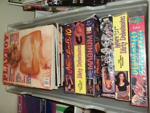 Adult magazines and VHS tapes for sale