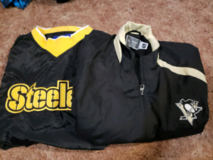 Mens Large Penguins and Steelers Spring Jackets (must take both)