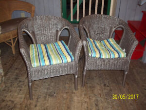 two 2 wicker arm chairs with cushions - Garden Furniture Glasgow