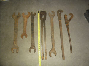 Large vintage wrenches and bolt cutter