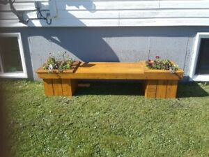 planter bench (flowers not included) sturdy n stained 150 each