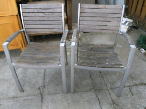 Aluminum Grey Wooden Chairs - Patio Furniture Dining Chairs