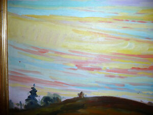 "Vintage Oil by Peter Stoyan (Stoyanoff) ""Sunset"", AOCA, 1952 Stratford Kitchener Area image 9"
