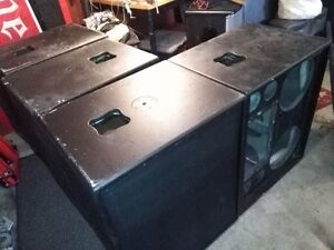"JBL Mid high speaker cabinets 2 x 12"" and horn openings"