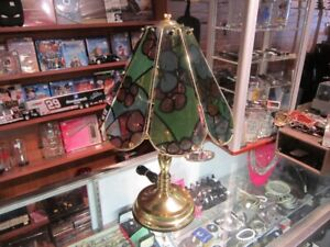 Brass Colored Touch Lamp With Glass Shade For Sale