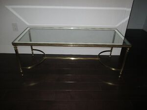 Glass coffee table gold plated