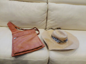 Ladies Leather Reddish Brown Purse & Floppy Boardwalk Straw Hat