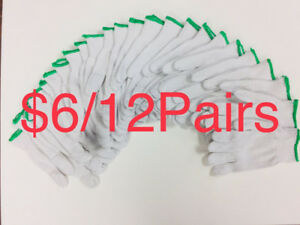 $6/12Pairs White Cotton Work Gloves