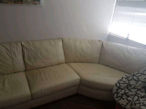 Beige leather couch 2 piece
