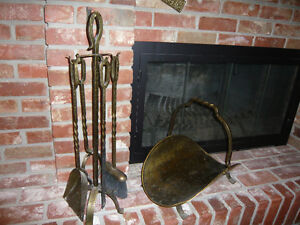 Fireplace Wrought Iron Toolset With Matching Wood Basket