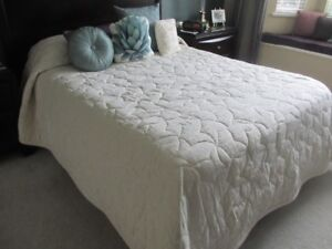 cream coloured custom bedspread, queen or king, $50.