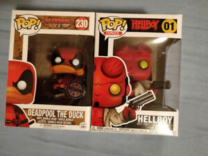 Hellboy and Deadpool Duck Funko Pops