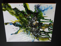 8 by 10 Original Painting Mosquito Bug Splatter by Justin Moneey