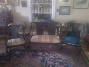Victorian Settee with matching chairs.