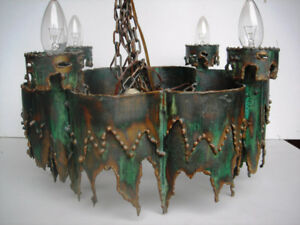METAL HAND SCULPTURED CHANDLIERS AND COFFEE TABLE
