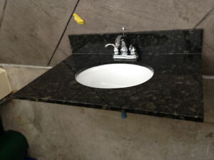 New Granite countertop with sink and faucet