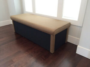 Custom upholstered speaker bench