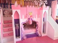Princess Castle Bunk bed with drawer stairs and slide.