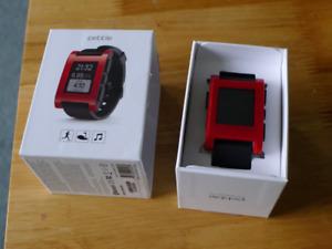 Original red Pebble smart watch