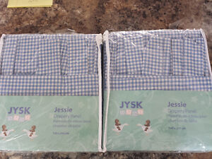 gingham blue curtains 2 panels