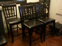 5 Black  High Bar Stools