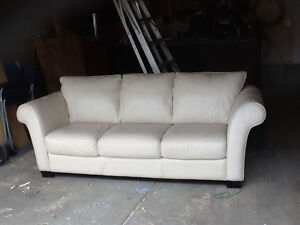 Off-white leather chesterfield