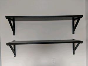 2 black ikea shelves