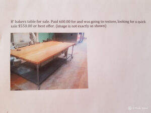 8 foot bakers table