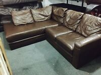 Free delivery 🎅 brown leather corner sofa