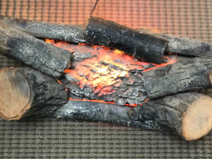 Vintage Real Wood Faux Fire Crackling Logs