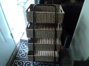 Solid Metal Shelf with 4 Baskets