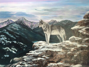 Painting of wolf in the mountains