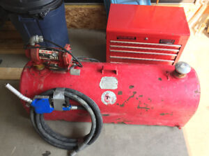 181 litre tidy tank, 20gpm pump, hose and nozzle