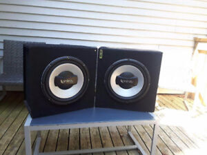 "2 12"" Infinity Subwoofers w/ boxes"
