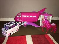 Barbie plane car unicorn collection