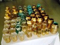 Vases and lanterns - golds and turquoise