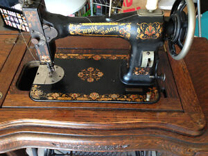 2 antique teadle foot driven manual sewing machine rare