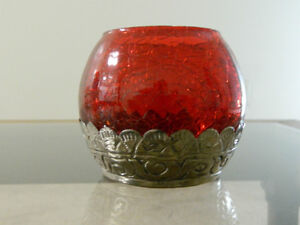 stained glass red in colour candel stand
