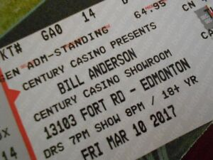 2 Hard Copy Tickets Bill Anderson Century Casino Friday March 10