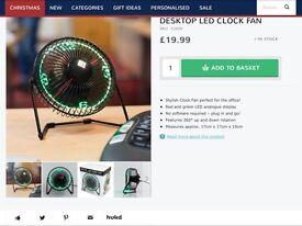 Desktop LED Clock Fan BNIB