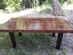 Heavy, rustic table. Beautifully designed and handrafted